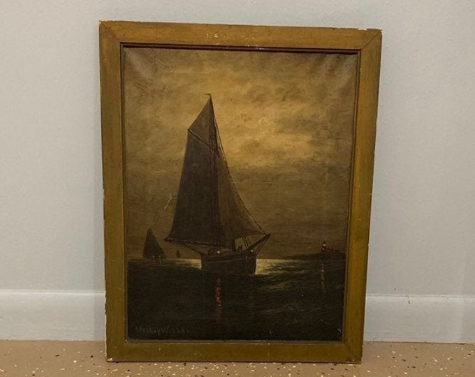 Antique Wesley Webber (American, 1841-1914) Oil Painting | Maritime | Ship Painting
