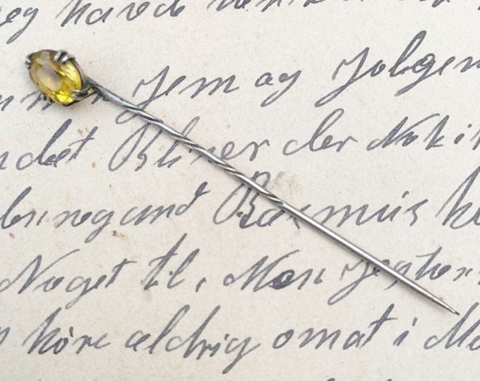 Vintage Yellow Stone Stick Pin | Faceted Yellow Stone