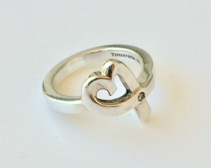 Vintage Tiffany Paloma Picasso Loving Heart Diamond Ring | Diamond Accent | TIFFANY & CO. Sterling Silver | Size 6.5