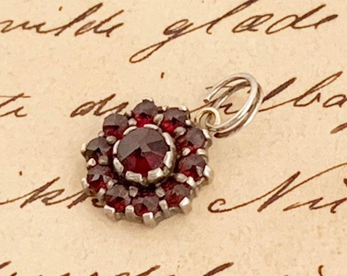 Vintage Garnet Charm | Rose Cut Garnet Cluster Pendant
