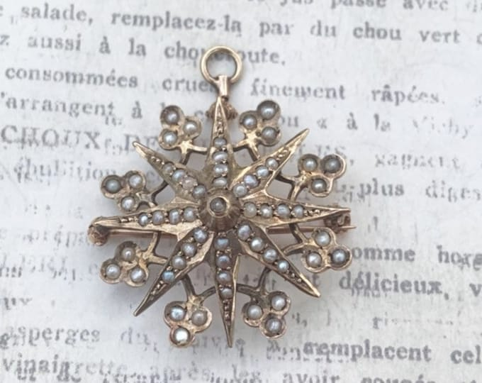 Victorian Seed Pearl Star Brooch | Clover and Star Brooch