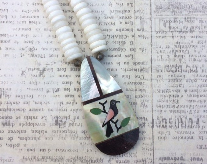 Vintage Bird Inlay Heishi Necklace | Turquoise Inlay | Mother of Pearl Inlay | Southwest