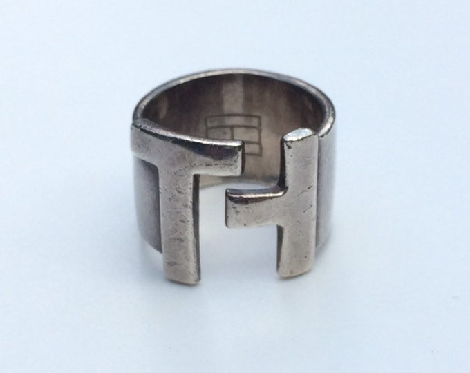 Vintage Silver Tommy Hilfiger Ring | TH Ring | Adjustable Ring | 1990s Style