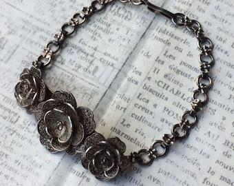 Vintage Rose Filigree Bracelet | Floral Link Bracelet | Vintage Filigree