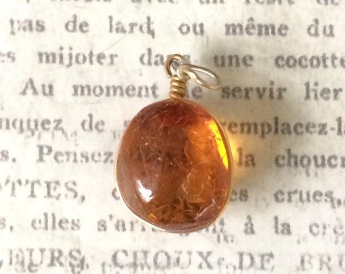 Vintage Amber Drop Charm | Insect Inclusion