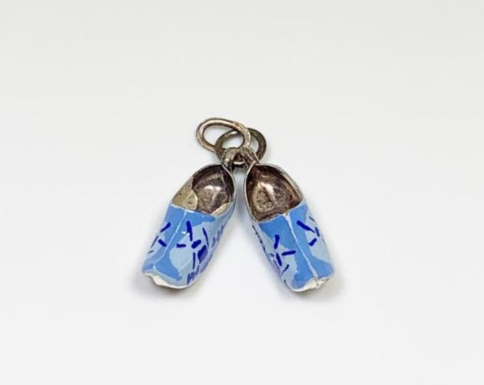 Vintage Enamel Dutch Shoe Charm   Enamel Blue Shoes Charm   835 Silver Delft Clog   Netherlands