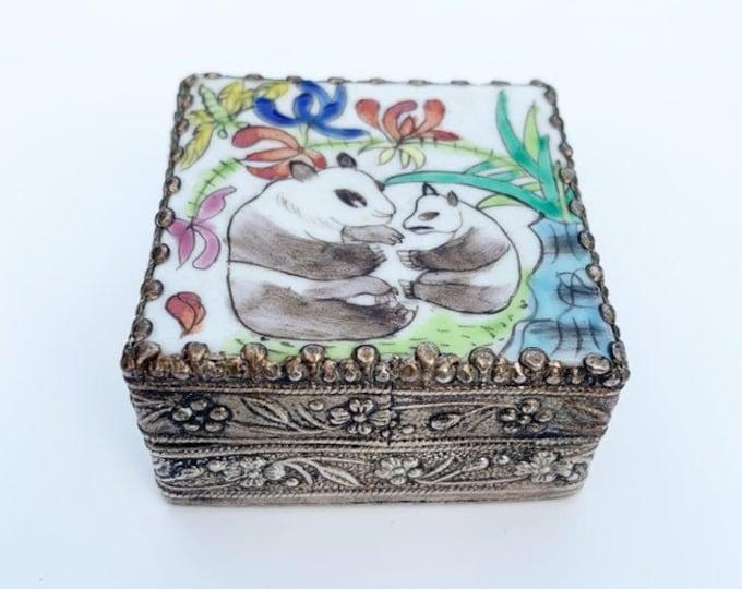 Porcelain Panda Trinket Box | Painted Silver Plate