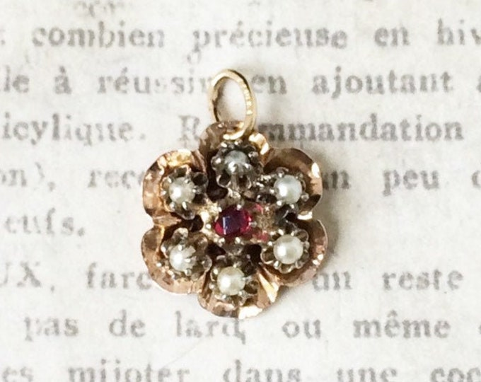 Vintage Gold Flower Charm | Garnet and Seed Pearl | Conversion Charm