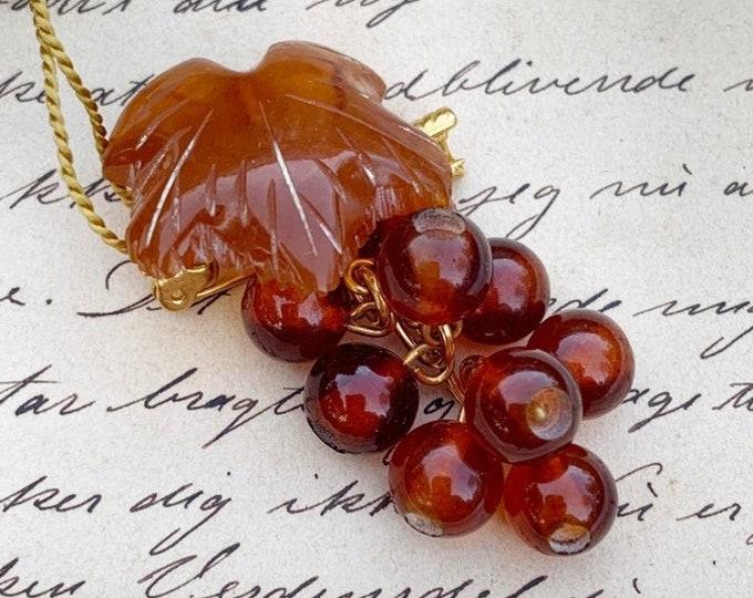 Vintage Amber Grape Cluster Brooch | Amber Fruit Cluster Brooch | Russian Amber