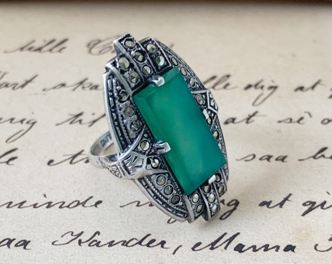 Vintage Art Deco Marcasite Silver Ring | Green Stone Ring | Size 4 1/2