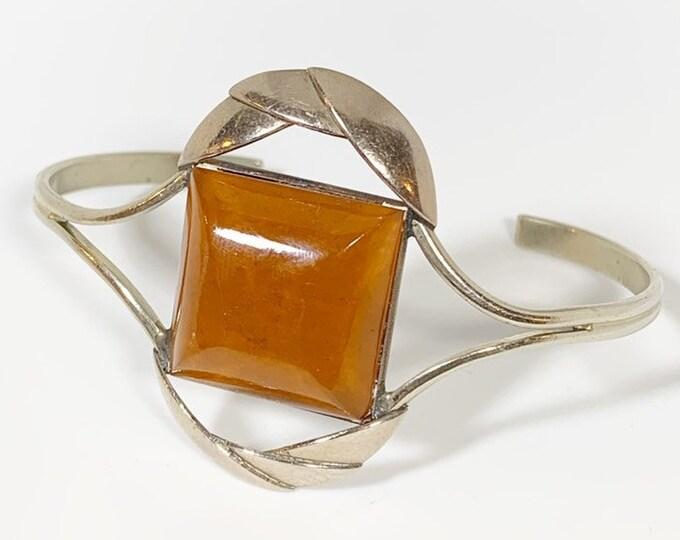 Vintage Silver Amber Cuff | Amber Bracelet
