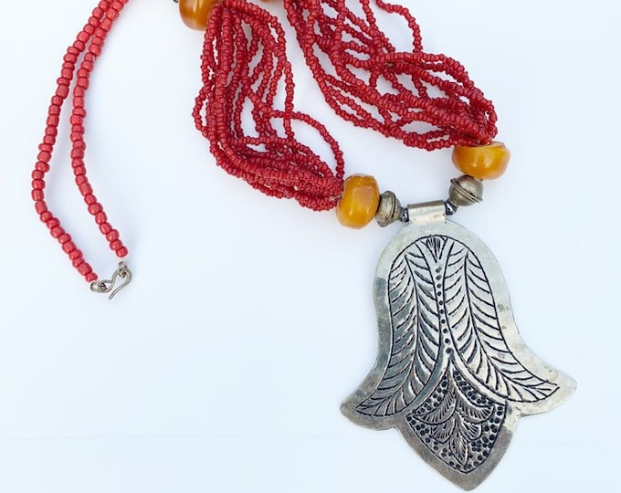 Moroccan Coral and Amber Flower Necklace