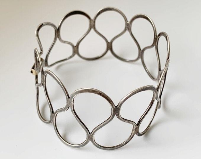 Vintage Silver Modernist Cuff Bracelet | Lattice Bracelet