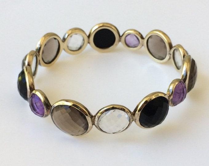 Silver Faceted Stone Bangle Bracelet | Multi-Color Stone Bangle