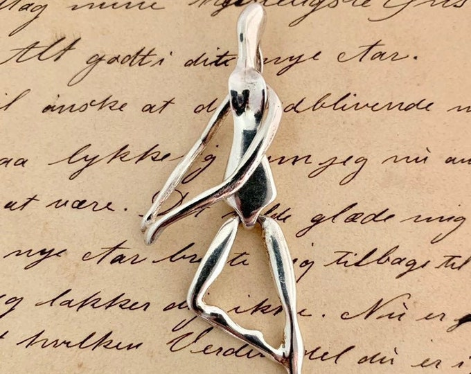 Vintage Silver Modernist Dancer Pendant | Articulated Pendant | Kinetic Charm