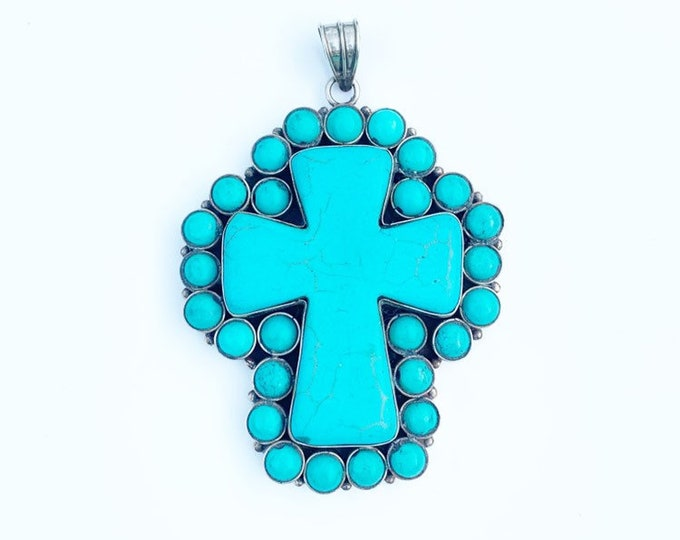 Vintage Turquoise Silver Cross | Large Pendant