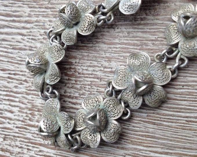 Vintage Filigree Flower Bracelet