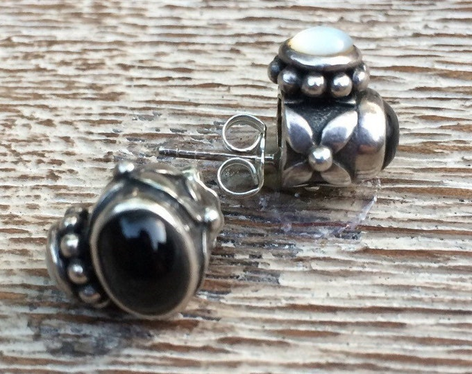 Silver Onyx and Mother of Pearl Earrings | Floral Design