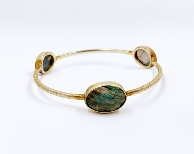 Gold over Silver Faceted Stone Bangle Bracelet | Labradorite Stone Bangle