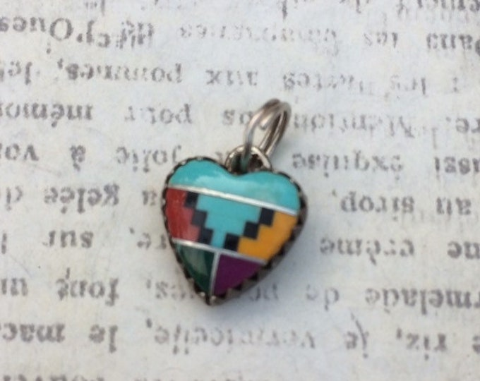 Vintage Silver Heart Inlay Charm   Multi-stone Inlay   Southwest
