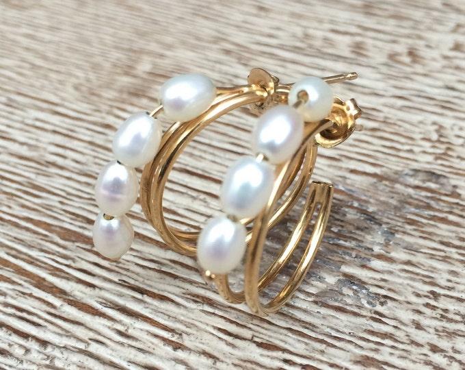 Vintage Gold Pearl Hoop Earrings | 14K Gold | Cascading Pearls | Fresh Water Pearl Earrings