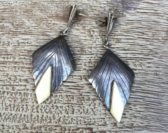 Vintage Silver Southwest Earrings | Faux Bone and Silver Earrings