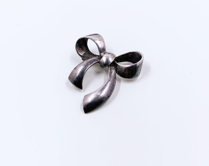 Vintage Silver Bow Brooch | Silver Ribbon Brooch