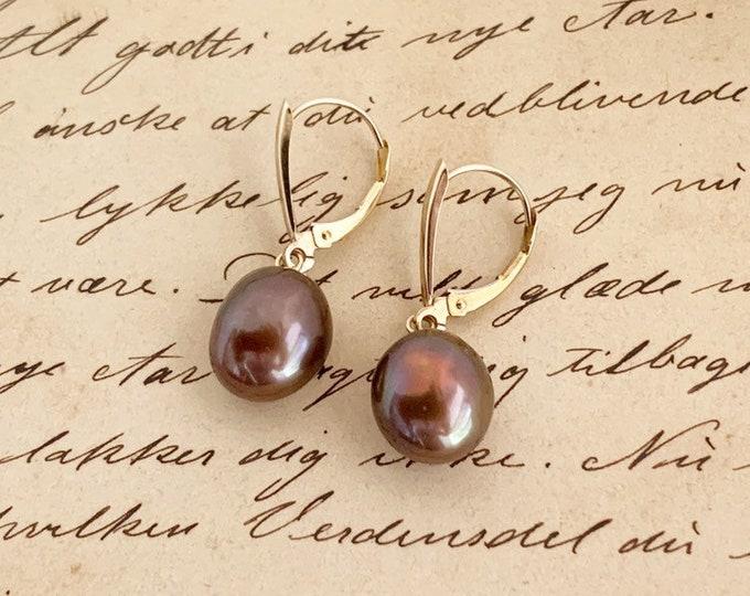 Vintage Chocolate Pearl Drop Earrings | Gold Lever Back | Baroque Pearl | Brown Pearl