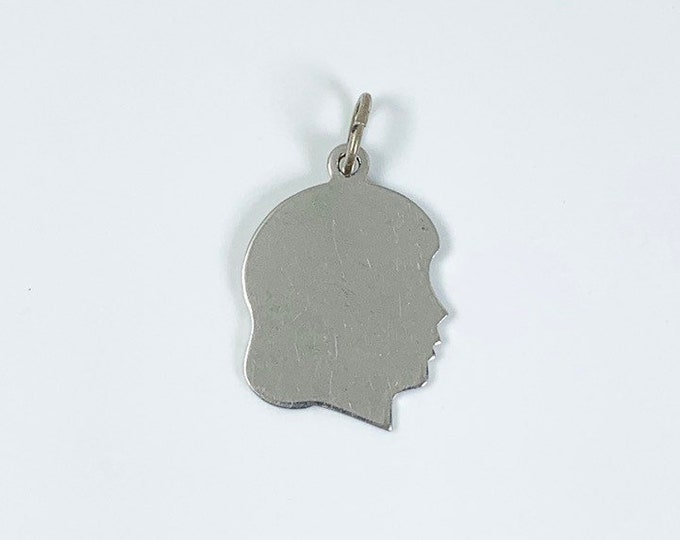 Vintage Girl's Head Charm | Engraving Charm | Sterling Silver