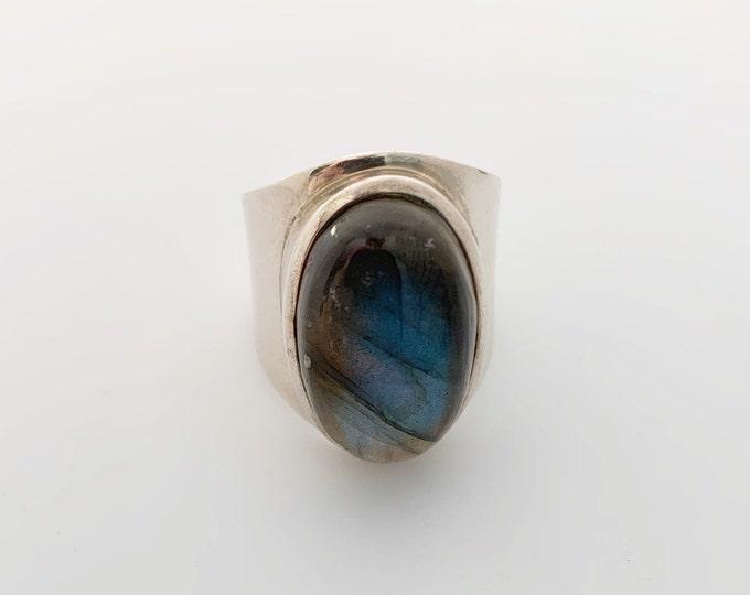 Vintage Silver Labradorite Ring | Large Labradorite Ring | Size 9 1/4 Ring