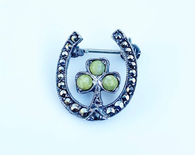 Vintage Connemara Marble Shamrock and Horseshoe Brooch | Lucky Charm | Clover