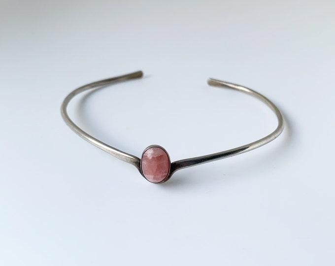 Silver Rhodochrosite Cuff Bracelet | Stackable Pink Stone Cuff | Small Gemstone Bracelet