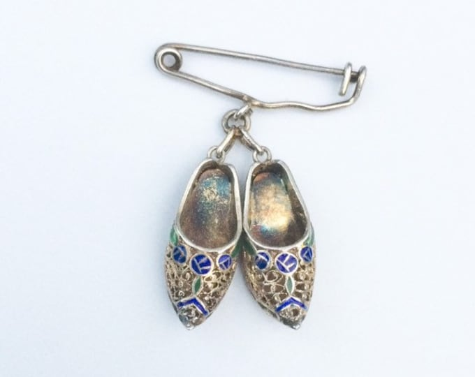 Vintage Topazio Filigree Shoe Charm Brooch | Safety Pin Charms
