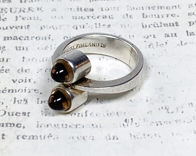 Vintage Elis Kauppi Silver Modernist Ring | Smokey Quartz | Kupitaan Kulta | Size 5