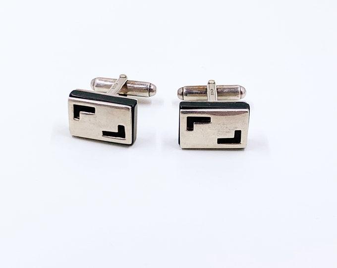 Vintage Modernist Silver Cufflinks | Onyx and Silver | Cutout Cufflinks | English Silver