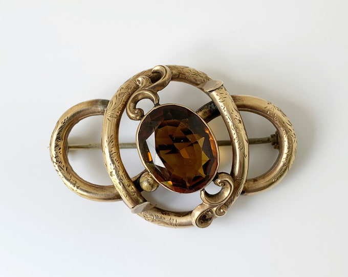 Antique Victorian Love Knot Brooch   Victorian Brown Stone Brooch