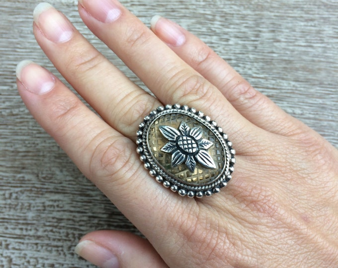 Vintage Stephen Dweck Ring | Silver Quilted Classic Quartz Flower Ring | Size 6