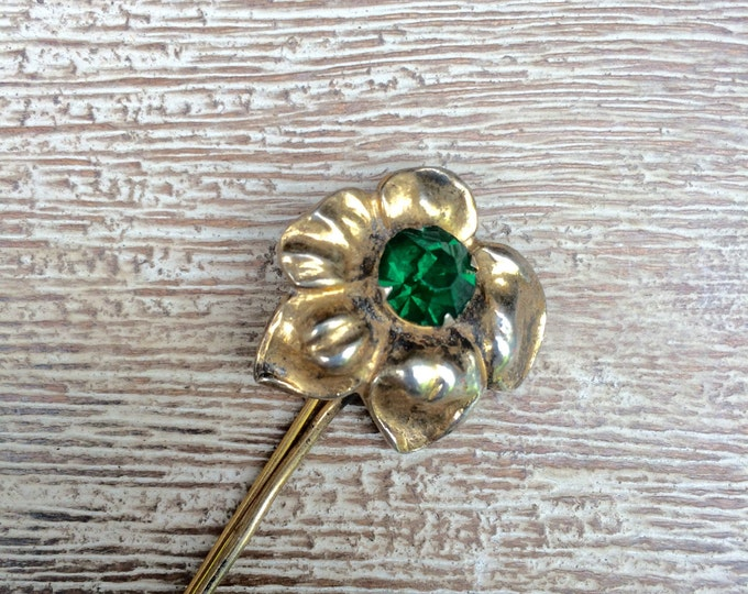Vintage Green Rhinestone Flower Brooch | Vermeil