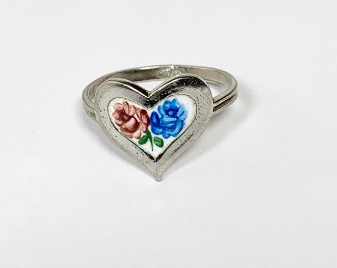 Vintage Enamel Flower Heart Ring | Beau Sterling Ring | Size 7
