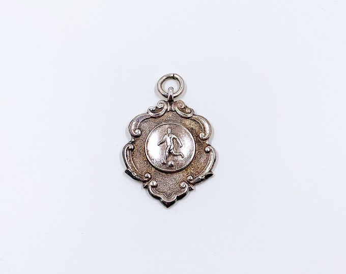 Vintage Silver Medal Watch Fob | Football Medal WINNERS of GRIST CUP | Soccer Medallion