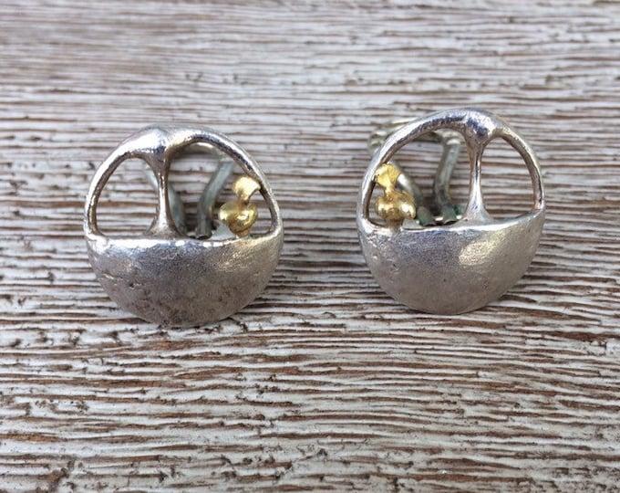 Modernist Bird Earrings | Silver and Gold Clip On Earrings