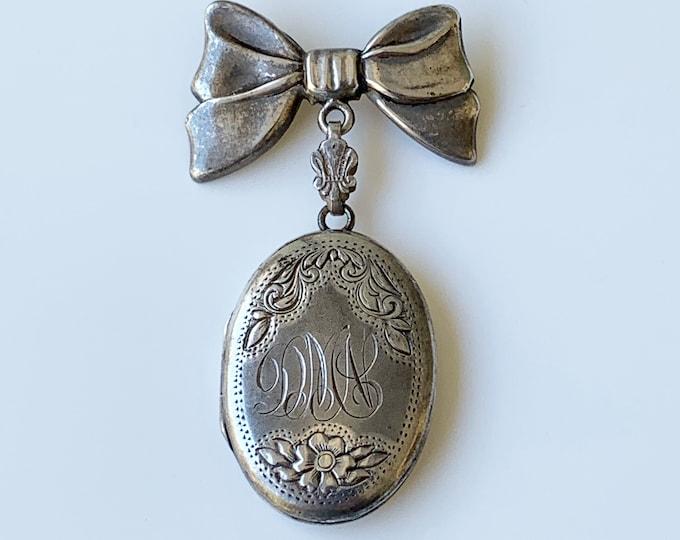 Vintage Sterling Engraved Locket Lapel Pin | Charme Sterling Oval Locket