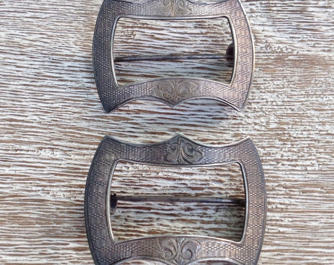 Antique Sterling Silver Buckle Pins | Victorian Shoe and Sash Pins