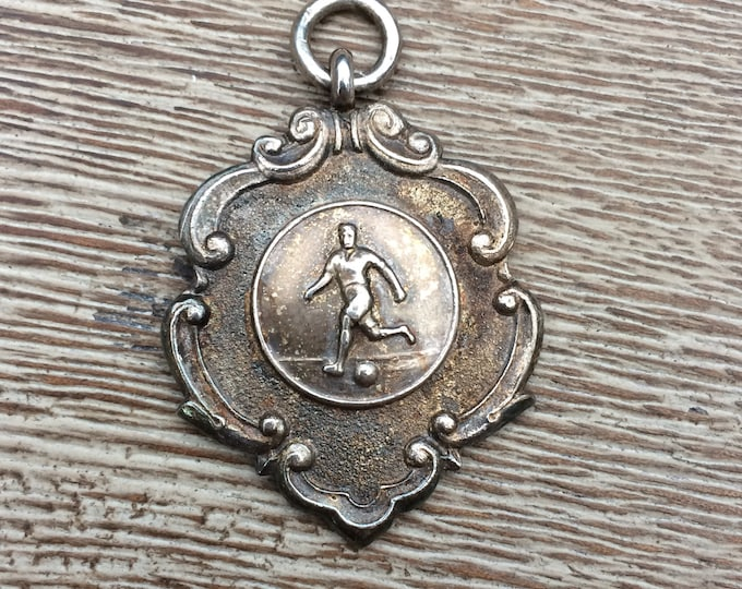Vintage Silver Watch Fob | Medal WINNERS of GRIST CUP | Soccer Medallion