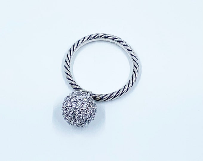 David Yurman Pave Ball Ring | DY Diamond Swivel Elements Ring | 10 mm Pave Ball | Size 8 Ring