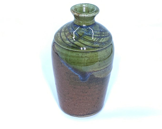Vintage Glazed Pottery Bud Vase | Small Handmade Vase | Brown and Green Pottery