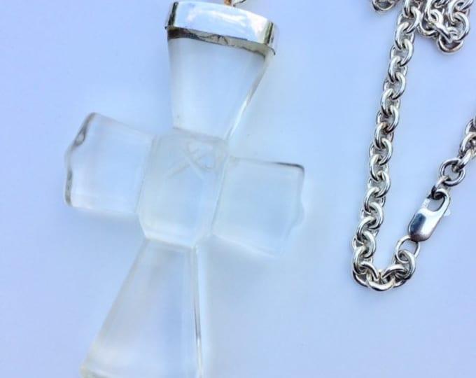 Vintage Sterling Rock Crystal Cross Necklace | MMA CMA | Coptic Cross | Museum Replica