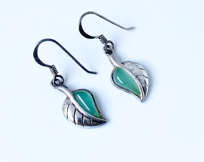 Vintage Silver Leaf Earrings | Green Stone Leaf Earrings