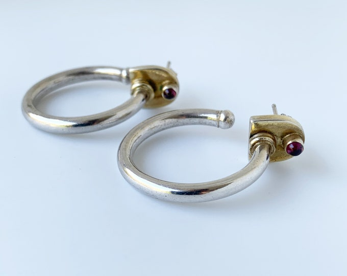 Vintage Modernist Silver Garnet Earrings | Large Silver Garnet Hoops| Geometric Modernist Earrings