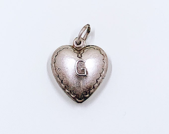 Vintage Puffy Heart Charm | G Sweetheart Charm | Letter G Heart Charm